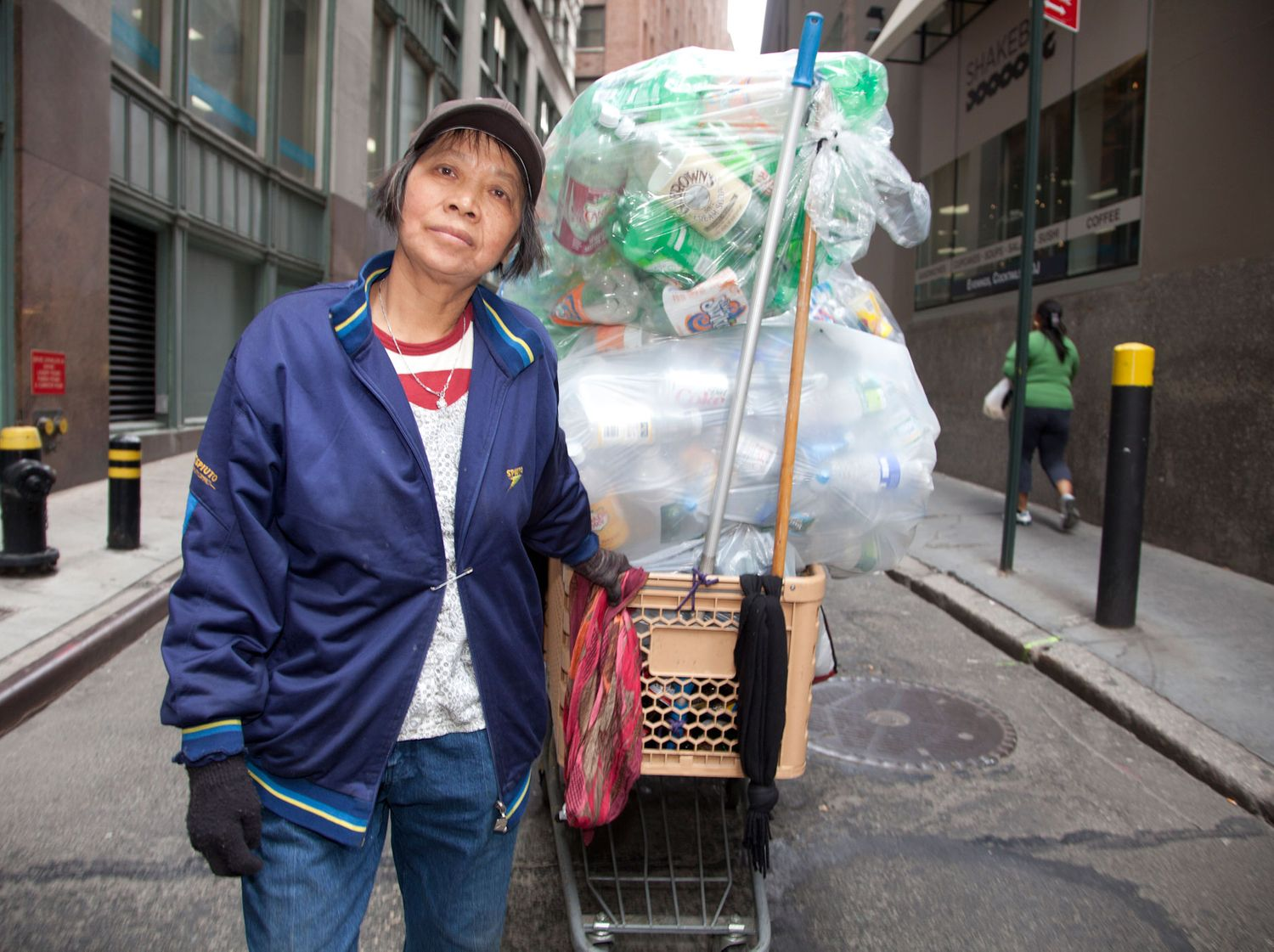 Lilly, the main character followed in the documentary Redemption (2013), pulls bottles and cans collected from NYC streets