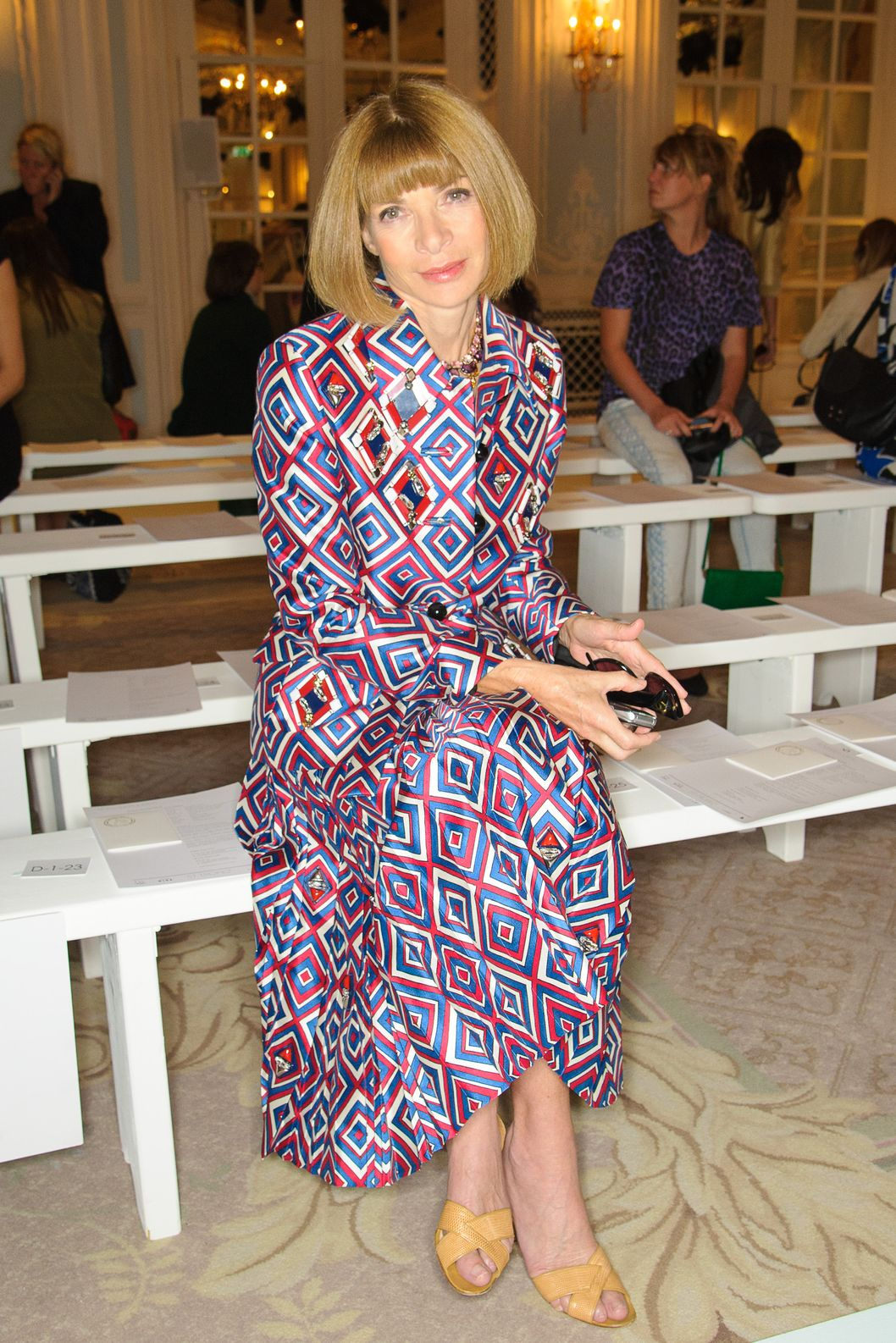Anna Wintour attends the front row for the Roksanda Ilincic show on day 5 of London Fashion Week Spring/Summer 2013, at the Savoy Ballroom on September 18, 2012 in London, England.