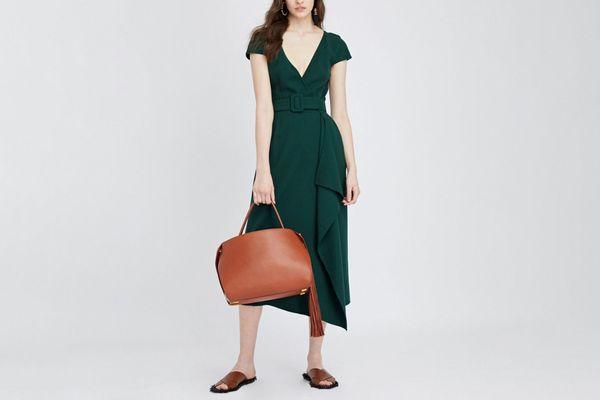 Oscar de la Renta stretch wool crepe pencil dress