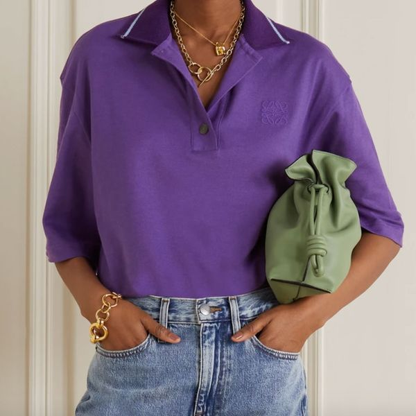 Loewe Oversized Embroidered Cotton and Cashmere-Blend Piqué Polo