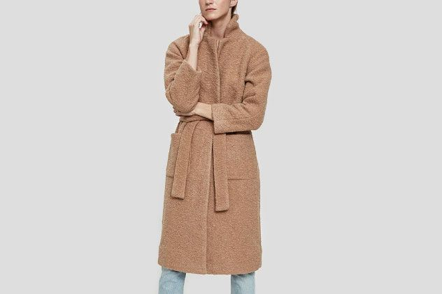Ganni Fenn Long Wrap Coat in Chanterelle