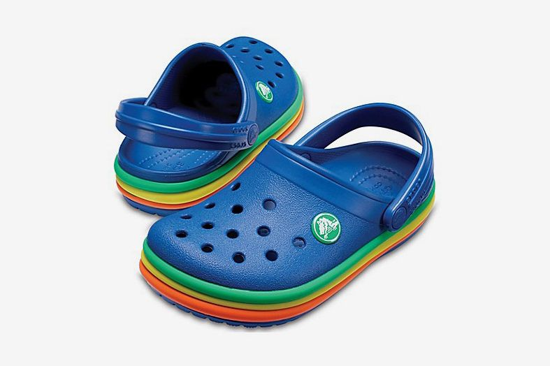 Crocs Rainbow Band Classic Clog in Blue