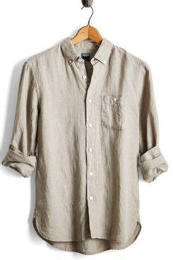 Todd Snyder Button Down Linen Shirt in Almond