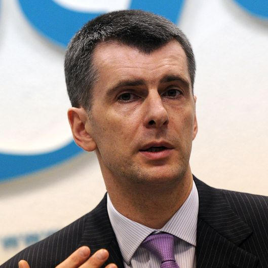 Russian metals tycoon and US basketball team owner Mikhail Prokhorov gives a news conference in Moscow on December 12, 2011 to announce that he intended to challenge Prime Minister Vladimir Putin in next year's presidential elections.
