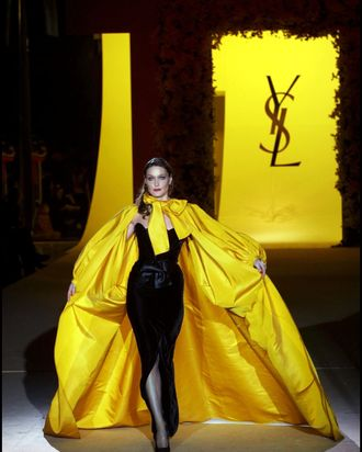 Carla Bruni at the last Yves Saint Laurent couture show in 2002.