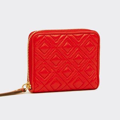 red tory burch zip around wallet