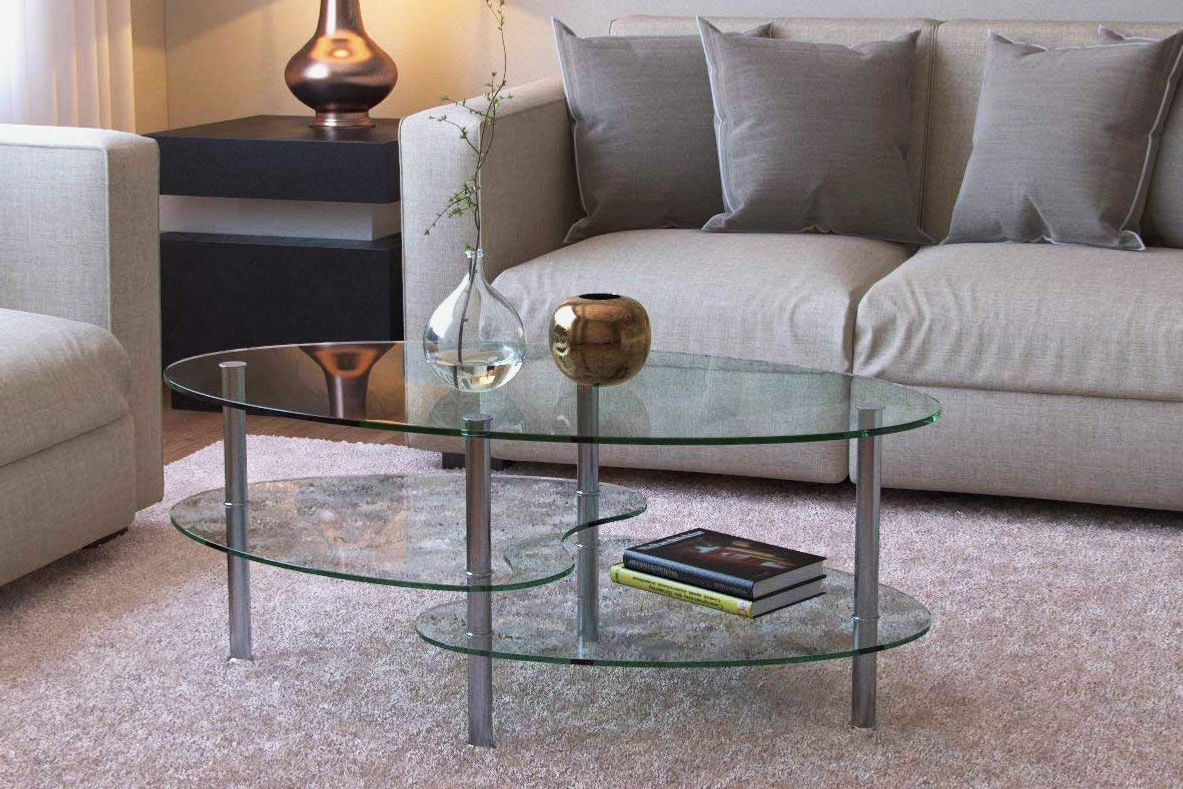 Ryan Rove Ashley 38-Inch Oval Two Tier All Clear Glass Coffee Table