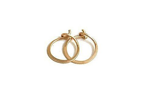 New England Jewelry Designs 14K Gold Flat Endless Huggie Classic Hoop Earrings
