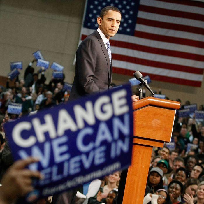 Presidential hopeful Sen. Barack Obama pauses while speaking during a