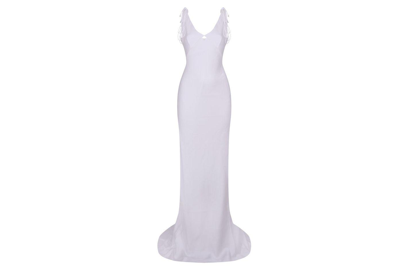 Satin Tie Shoulder Dress