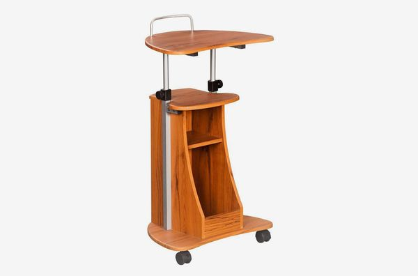 Techni Mobili Adjustable Height Laptop Cart With Storage