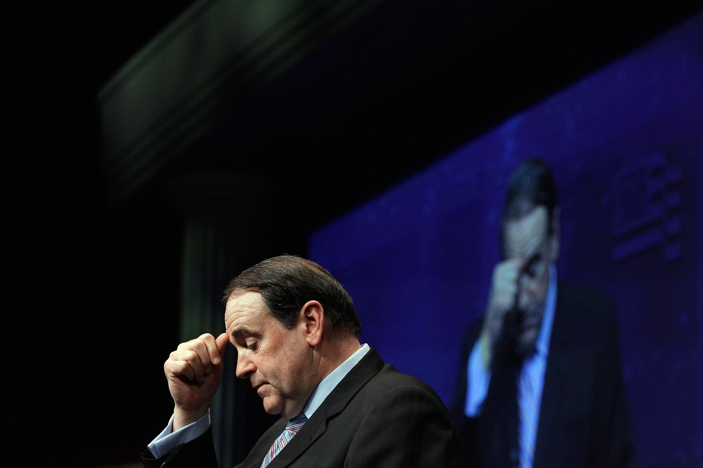 WASHINGTON, DC - FEBRUARY 10:  Former Arkansas Governor Mike Huckabee delivers remarks to the Conservative Political Action Conference (CPAC) at the Marriott Wardman Park February 10, 2012 in Washington, DC. Thousands of conservative activists are attending the annual gathering in the nation's capital.  (Photo by Chip Somodevilla/Getty Images)