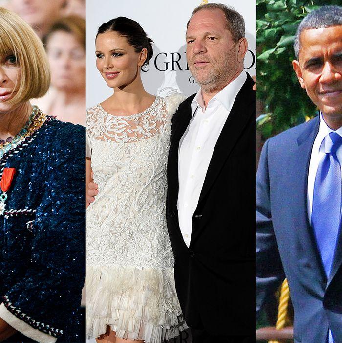Anna Wintour, Georgina Chapman, Harvey Weinstein, and Barack Obama.
