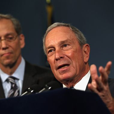 New York City Mayor Michael Bloomberg speaks to the media about the limiting of large size sugary drinks during a press conference at city hall on September 13, 2012 in New York City.