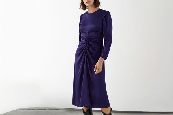 Ruched Satin Midi Dress