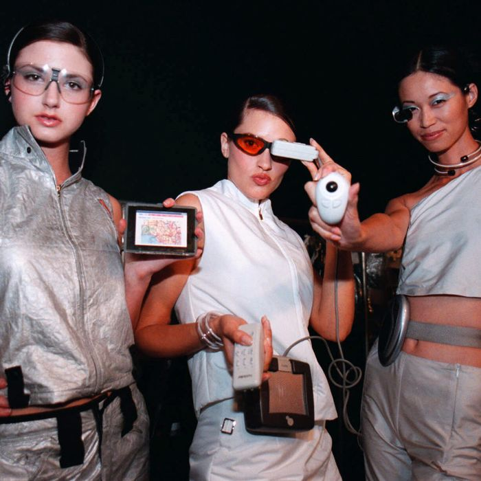 A fashion show spotlighting wearable tech in the year 2000.