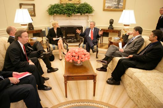 In this photo released by the White House, President Bush meets with radio talk show hosts in the Oval Office on Sept. 15, 2006, in Washington, including from left, Mike Gallagher, Neal Boortz, Laura Ingraham., Sean Hannity and Michael Medved.