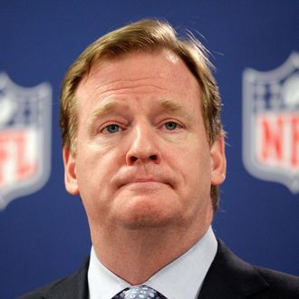 This May 22, 2012 file photo shows NFL Commissioner Roger Goodell during a new conference in Atlanta.
