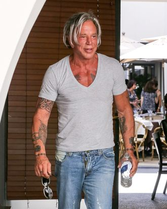 LOS ANGELES, CA - SEPTEMBER 20: Mickey Rourke is seen in Beverly Hills on September 20, 2014 in Los Angeles, California. (Photo by Bauer-Griffin/GC Images)