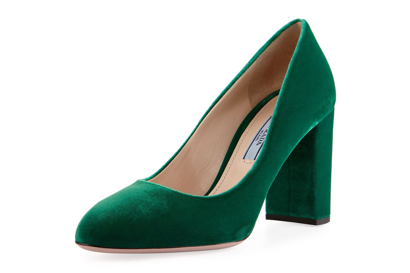 Prada Velvet 85mm Block-Heel Pump, Green