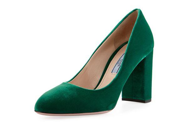Prada Velvet 85mm Block-Heel Pump, Green