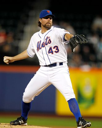 R.A. Dickey #43 of the New York Mets delivers against the Washington Nationals during a game at Citi Field on September 11, 2012 in the Flushing neighborhood of the Queens borough of New York City.