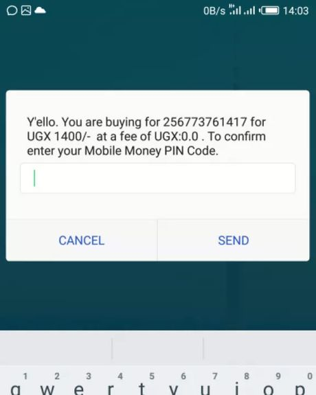 A screenshot of the Mobile Money app showing the social media tax.