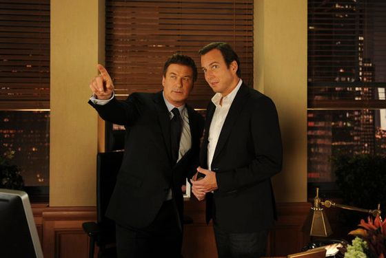 "30 ROCK -- ""Idiots Are People Three"" Episode 603 -- Pictured: (l-r) Alec Baldwin as Jack Donaghy, Will Arnett as Devin Banks -- Photo by: Ali Goldstein/NBC"