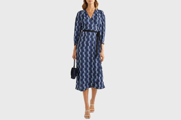Cefinn Printed satin wrap midi dress