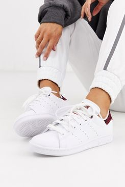 Adidas Originals Leopard Print Stan Smith Sneakers in White and Maroon