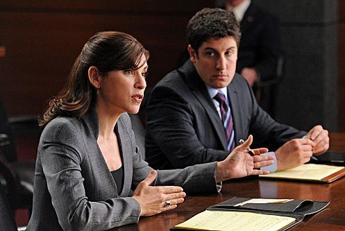 """Bitcoin for Dummies""--Alicia (Julianna Margulies) defends a lawyer (guest star Jason Biggs) who hires the firm after the government arrests him for not revealing the name of an anonymous client, on THE GOOD WIFE, Sunday, Jan. 15 (9:00-10:00 PM ET/PT) on the CBS Television Network. Photo: David M. Russell/CBS ©2011 CBS Broadcasting, Inc. All Rights Reserved"