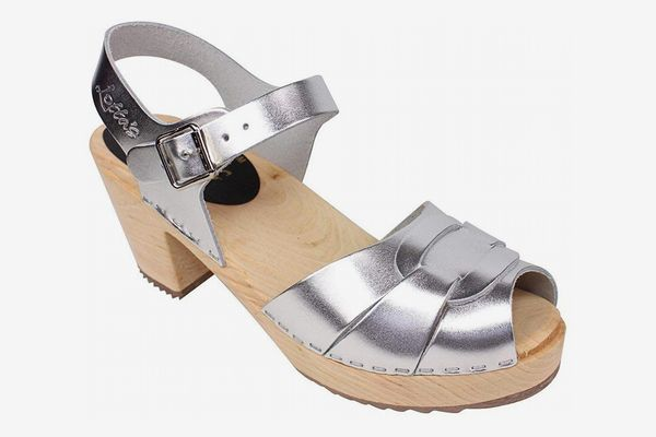 Lotta From Stockholm Swedish Clogs: High Heel Peep Toe Clogs in Silver