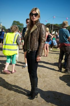 Model Kate Moss during day 3 of the 2013 Glastonbury Festival at Worthy Farm on June 29, 2013 in Glastonbury, England.