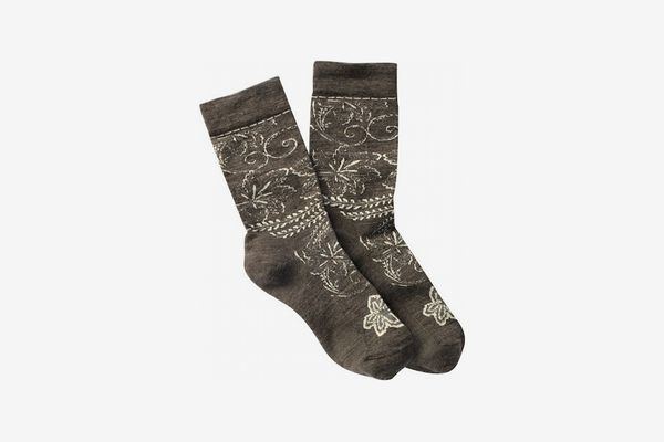 Womens Floral Scroll Wool Blend Crew Socks, Taupe