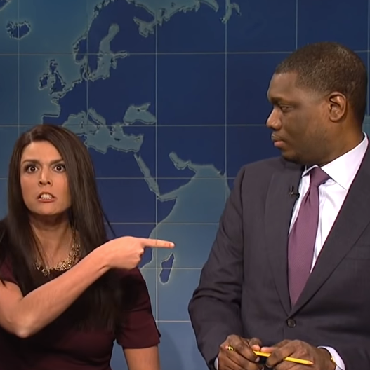 Colin Jost, Cecily Strong, and Michael Che.