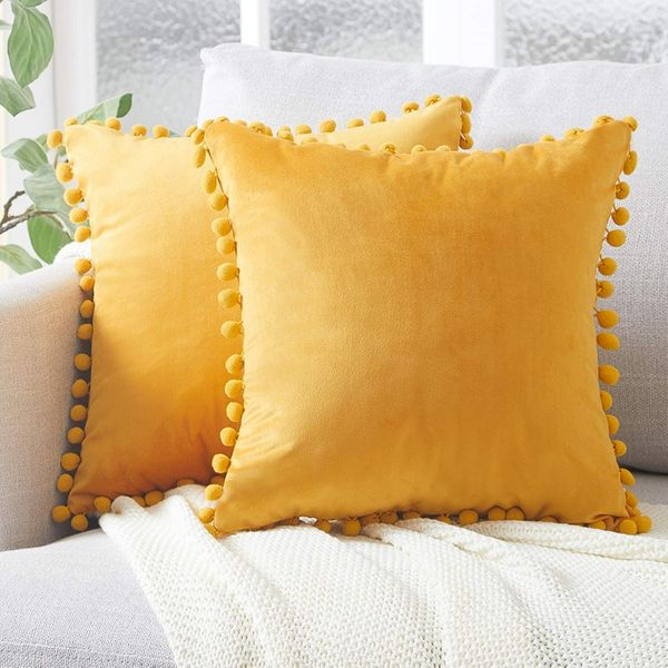 Topfinel Yellow Velvet Cushion Covers