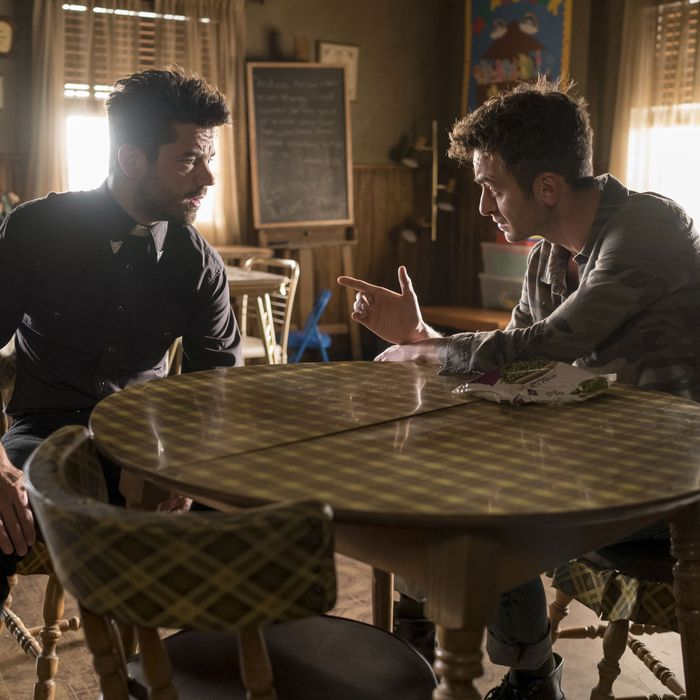 Dominic Cooper as Jesse Custer, Joseph Gilgun as Cassidy - Preacher _ Season 1, Episode 2 - Photo Credit: Lewis Jacobs/Sony Pictures Television/AMC