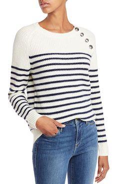 AQUA Cashmere Button Neck Striped Cashmere Crewneck Sweater