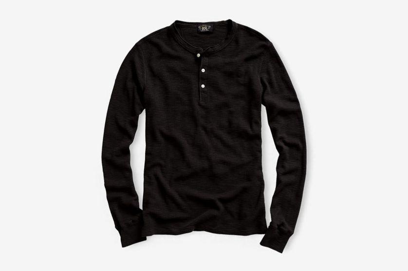 RRL Waffle-Knit Cotton Henley, Black