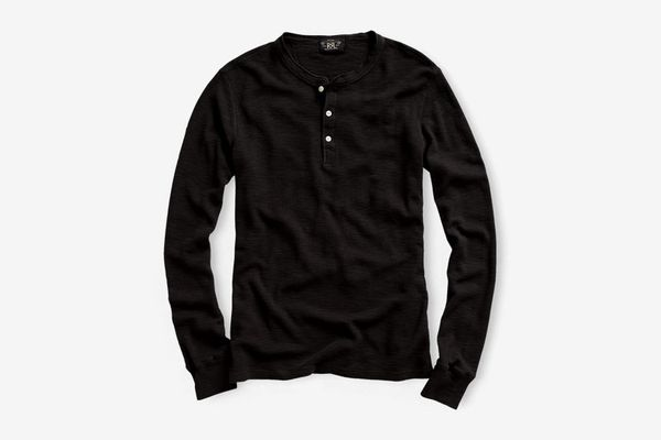 RRL Waffle-Knit Cotton Henley, Faded Black
