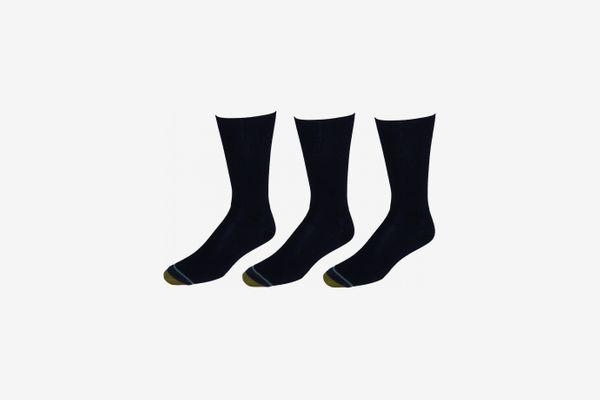 Gold Toe Men's Manhattan Traditional Ribbed Crew Socks, 3-Pack