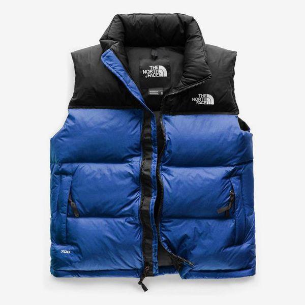 north face blue black womens retro puffer vest