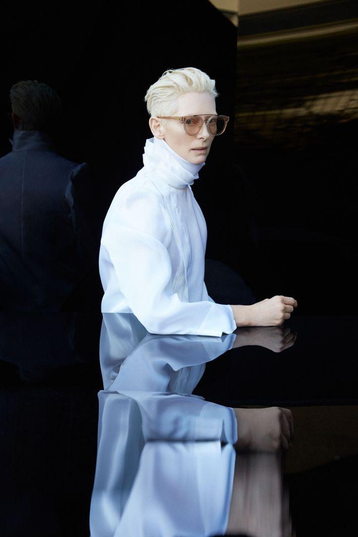 Tilda Swinton GM Doppel Brücke Getöntes Glas Designer Promi Damen Sonnenbrille