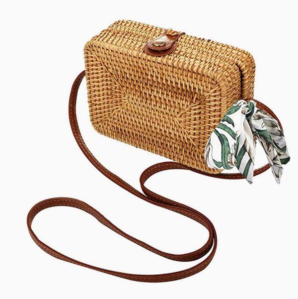 Xmeng Straw Woven Circle Crossbody Wicker Purse Adjustable Strap Boho Bag