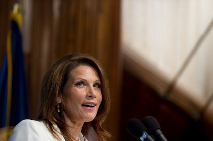 Republican Presidential hopeful US Representative Michele Bachmann of Minnesota speaks at the National Press Club in Washington, DC, on July 28, 2011. AFP PHOTO / Saul LOEB (Photo credit should read SAUL LOEB/AFP/Getty Images)