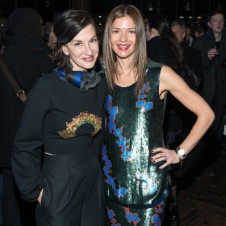 NEW YORK, NY - FEBRUARY 12: Designer Cynthia Rowley (L) and actress Jill Hennessey attend the Cynthia Rowley presentation during Mercedes-Benz Fashion Week Fall 2014 at The Diamond Horseshoe on February 12, 2014 in New York City. (Photo by Michael Stewart/WireImage)