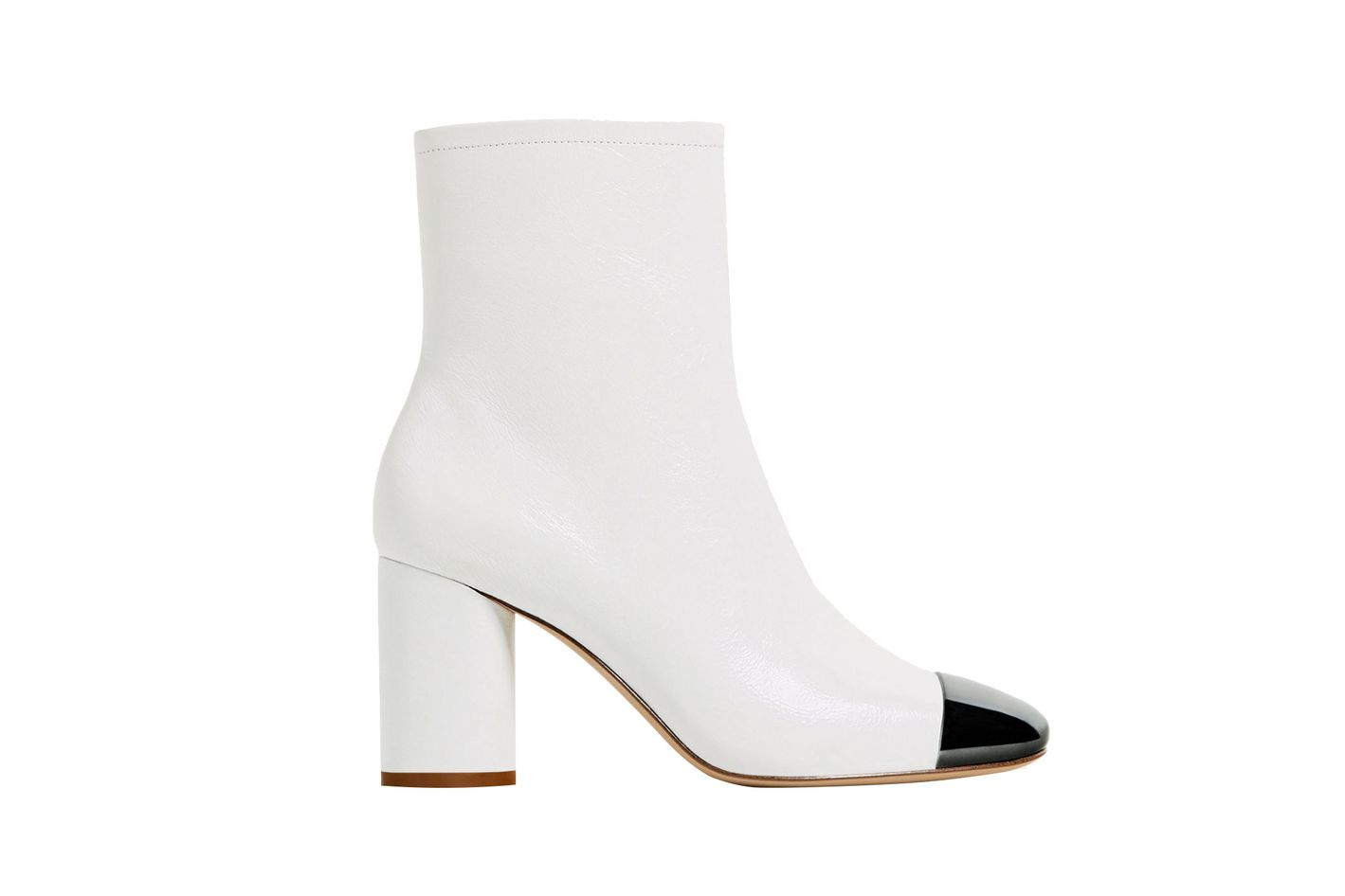 High Heel Leather Boots With Metal Toe
