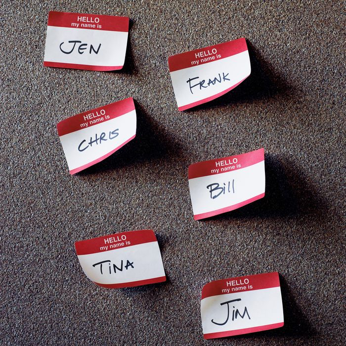 Nametags on cork board