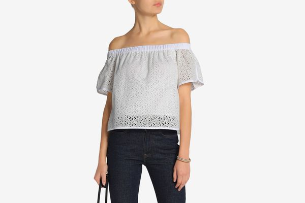 Rag & Bone Off-the-Shoulder Printed Broderie Anglaise Cotton Top