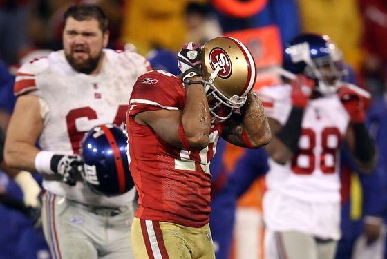 SAN FRANCISCO, CA - JANUARY 22:  Kyle Williams #10 of the San Francisco 49ers reacts after he fumbled the ball on a punt return which the New York Giants recovered in overtime during the NFC Championship Game at Candlestick Park on January 22, 2012 in San Francisco, California.  (Photo by Ezra Shaw/Getty Images)